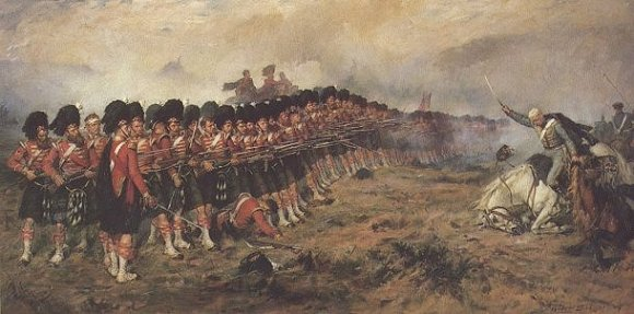 The Thin Red Line, painted in 1881 by Robert Gibb. Painting showing the 93rd Sutherland Highlanders in battle with Russian cavalry at the Battle of Balaklava 1854.