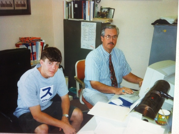 My friend Rick Ewing hanging out with Coach in his office in-between classes.