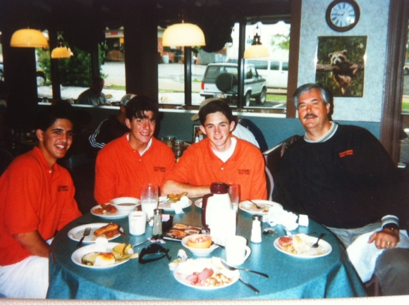 John Marecek, Rick Ewing, and I with Coach at the 1996 State tournament with Coach.