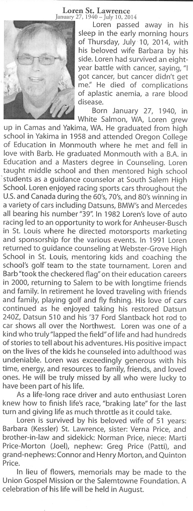 Coach's Obituary that appeared in Salem, Oregon.