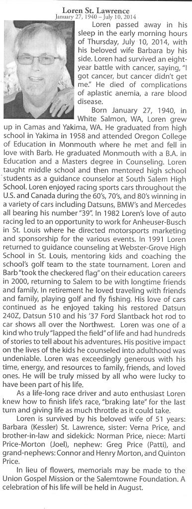 Coach's Obituary that appeared in Salem, Oregon.