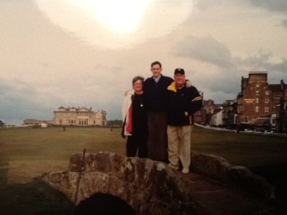 My parents visited me when I lived there in 2011 and we took a trip to St. Andrews. Here we are on top of the historic Swilcan bridge.
