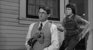 Scout (Mary Badham) and Atticus (Gregory Peck in 'To Kill a Mockingbird' (1962)